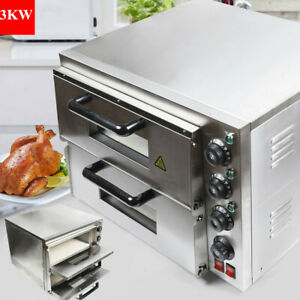 3kw Stainless Steel Pizza Oven Double Deck Electric Pizza Toaster For Restaurant