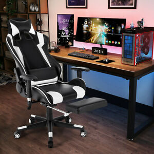 Gaming Chair Racing Leather Office Recliner Computer Desk Seat Swivel W footrest