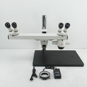 Leica Mz6 Stereo Microscope W Dual Head Teaching Bridge Light Source 1x Obj