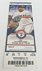 Cliff Lee 1000th Strikeout #1000 Win 99 2010 7 22 10 Rangers Angels Full Ticket $20.00