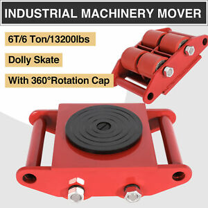 4pcs 6t Machinery Mover Dolly Skate 4 Rollers 13200lbs 6 Ton W 360 rotation Cap