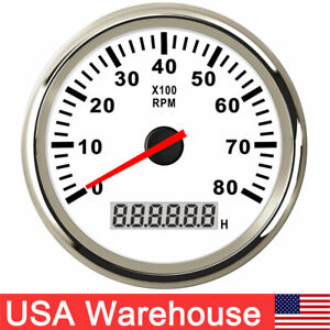 85mm Boat Tachometer With Lcd Hourmeter 8000rpm For Diesel Gasoline Engine Us