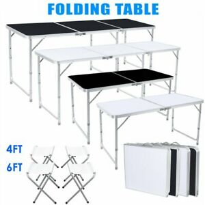 4 6ft Folding Table Portable Outdoor Picnic Party Dining Camp 4 6 Folding Chairs