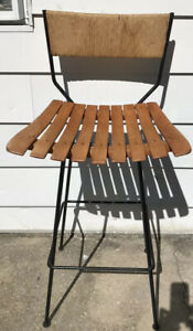 Arthur Umanoff Mid Century Rafia Back Mcm Wrought Iron Bar Stool Tiki