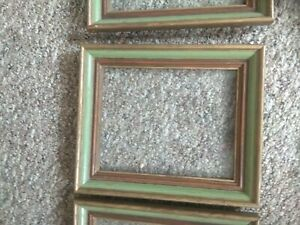 Vintage Mid Century Green Wood Picture Frame Fits 10 X 8
