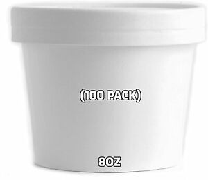 8 Oz 100 Pack Disposable White Paper Soup Containers With Vented Lids Half Pint