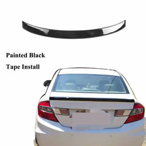 Painted Bright Black Rear Tail Trunk Spoiler Wing Fit For Honda Civic 2012 2015