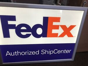Fedex Authorized Ship Center 2 Sided Sign one Side Lights Up Sign Used