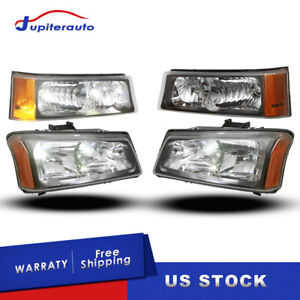 Set Of Headlights W Black Housing For 03 06 Chevy Silverado 1500 Ls 2500 3500 Hd