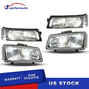 Pair Headlights W Clear Corner For 2003 2006 Chevy Silverado Avalanche 2500hd