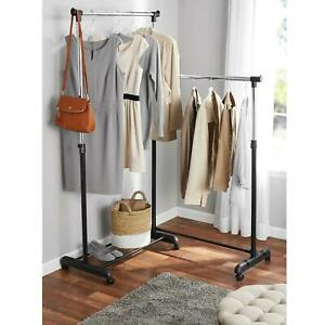 Clothes Garment Rack Organizer Hanging Rolling Corner Adjustable Chrome Black