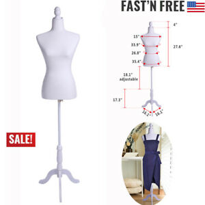 Female Mannequin Half length Lady Torso Model Tripod Stand For Clothing Display