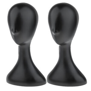 2x Mannequin Head Model Wig Hat Scarf Display Stand Holder For Retail Shop Black