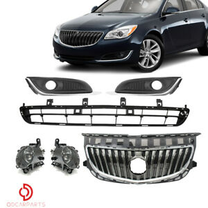 Fits For 2014 2017 Buick Regal Front Upper lower Grille And Fog Lamp Bezel Set