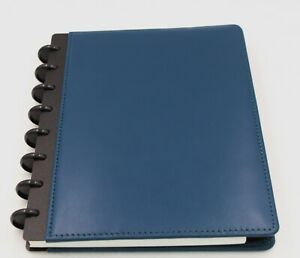 New Levenger Smooth Leather Teal Blue Foldover Notebook Junior New In Box