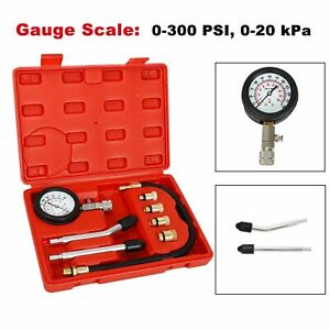 8pcs Engine Cylinder Pressure Tester Car Compression Gauge Test Tool Kit