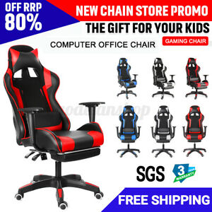Office Chair Ergonomic Computer Gaming Chairs Racing Recliner Leather Desk Seat