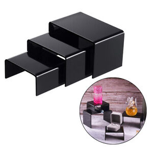 Black Acrylic Riser Counter Tabletop Jewellery Display Stand Showcase Shelf