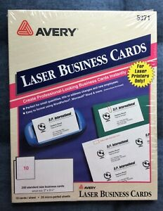 Avery Laser Microperforated Business Cards 5371 2 X 3 1 2 White Pack Of 250