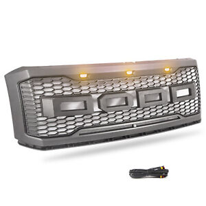 Upper Grille Gray Fit For Ford Expedition 2007 2016 Front Bumper W Led Lights