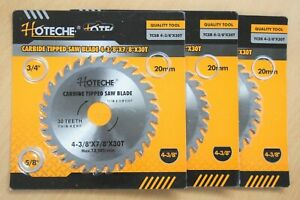 Lot Of 3 Carbide Tipped Saw Blade 4 3 8 X 30t Arbor 5 8 3 4 7 8 20mm