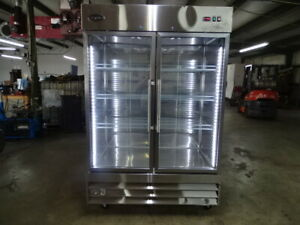 Saba 47 Cu Ft Two Glass Door Commercial Reach In Upright Freezer In Stainless