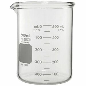 Pyrex Heavy Duty 600ml Beaker Griffin Double Scale Graduated case Of 6