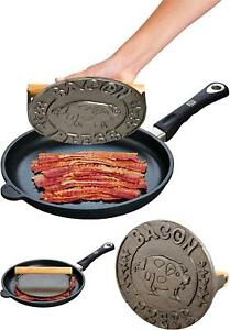 Weight Bacon Press Grill Steak Flat Heavyweight Cast Iron Wooden Handle Round