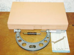 Mitutoyo 3 4 Inch Thread Pitch Micrometer W 3 Inch 60 Degree Thread Standard