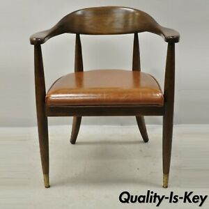 Vintage Boling Mid Century Modern Solid Walnut Office Library Arm Chair