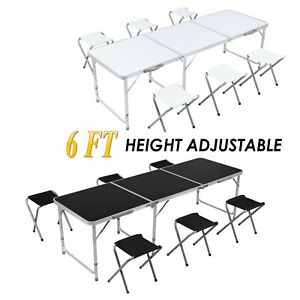 6ft Folding Table 6 Chair Portable Outdoor Garden Picnic Party Table Adjustable