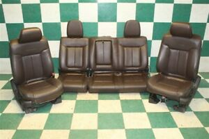 09 10 F150 Crew Platinum Brown Leather Heated Cooled Power Buckets Seat Set Oem