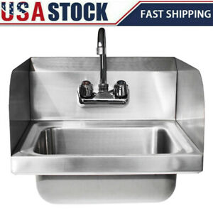 17 Stainless Steel Wall mounted Hand Sink Washing Commercial Kitchen Heavy Duty