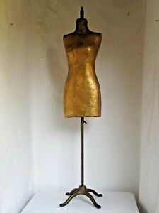 Antique Gold Paper Mache Dress Form Iron Base Used At Robinson s Dept Store
