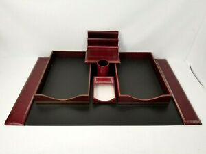 Scully Scully Red Florentine Leather Desk Set