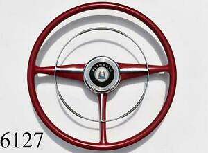 1946 1947 Plymouth Steering Wheel Horn Ring Cap Complete Bright Red Chrome 46 47
