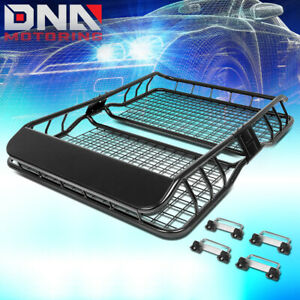 49 X 36 Roof Rack Top Cargo Baggage Carrier Basket Wind Fairing Deflector Black