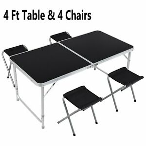 4 Foot Aluminum Folding Table And 4 Stool Set Adjustable Height Lightweight Desk
