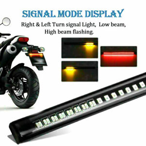 Turn Signal Light Motorcycle Flexible Stop Integrated 48led Bar Amber 2x Running