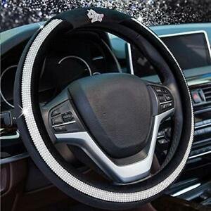 Diamond Steering Wheel Cover For Women Girls With Bling Crystal Rhinestone 15 In