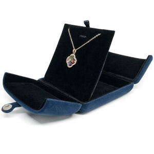 Navy Velvet Luxury Jewelry Gift Boxes Storage Organizer Pendant Necklace Box