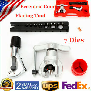 1x Line Tubing 7 Dies Sizes 45 Degree Angle Eccentric Cone Type Flaring Tool Kit