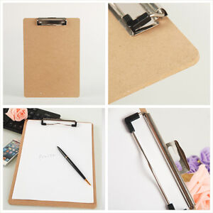 Wooden A5 File Paper Clip Wood Writing Board Metal Clip Document Clipboard Ya ss