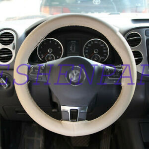 38cm 15 Beige Leather Warming Car Steering Wheel Diy Cover For Ford New