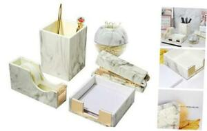 Marble White Office Supplies Set 5 Packs Desk Organizers Set With Pen Holder St