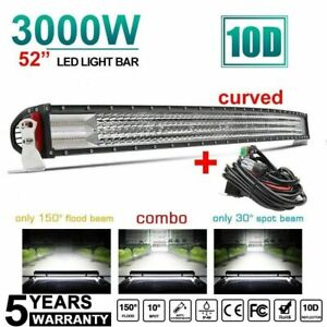 52inch 3000w Curved Cree Led Spot Flood Combo Quad Row Driving Light Bar 50