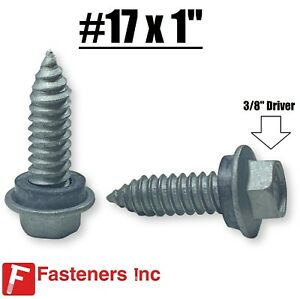 17 X 1 Hex Rubber Washer Pole Barn Screw Roofing Siding 3 8 Drive Screws