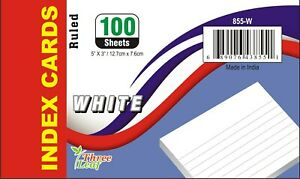 40 pack Of 100 Sheets 5 X 3 Index Cards White Ruled