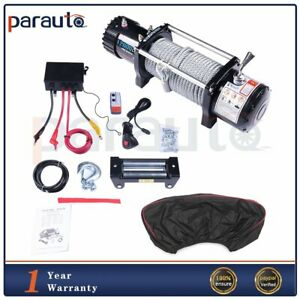 12000lb Electric Winch Towing Trailer Steel Cable Off Road 12v W Cover