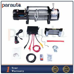 12000lb Electric Winch Towing Trailer Steel Cable Off Road Remote Control 12v